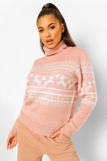 Pink Turtle Neck Fairisle Christmas Jumper