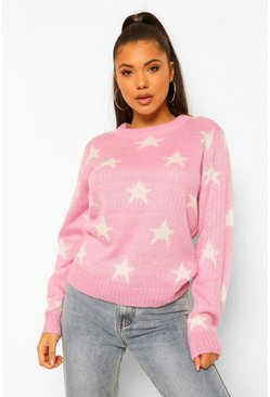 Lilac purple Soft Knit Star Christmas Jumper