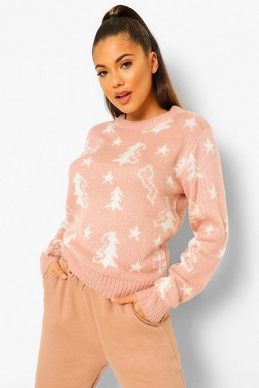 Pink Soft Knit Christmas Tree Jumper