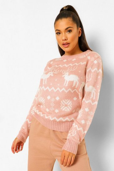 Pink Soft Knit Fairisle Christmas Jumper