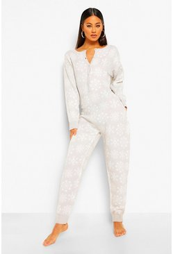 Grey Snowflake Knit Christmas Onesie