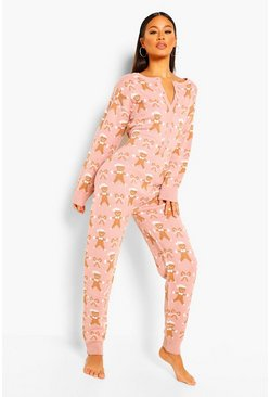 Pink Gingerbread Christmas Onesie