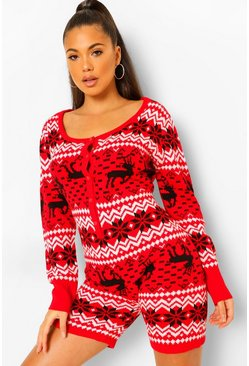 Red Fairisle Christmas Shorts Onesie
