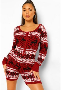 Wine red Fairisle Christmas Shorts Onesie