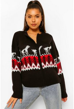 Black Zip Up Fairisle Christmas Cardigan