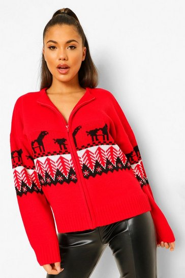 Red Zip Up Fairisle Christmas Cardigan