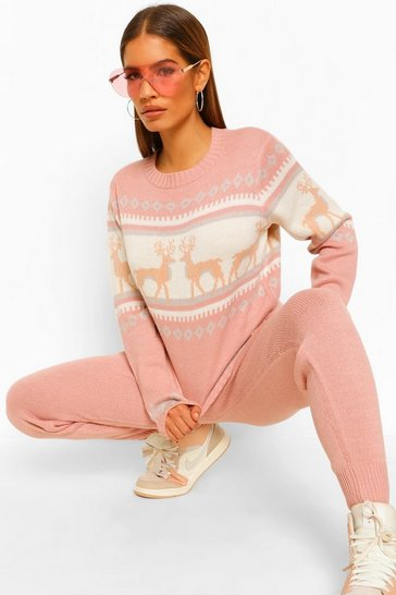 Pink Fairisle Reindeer Christmas Co-ord