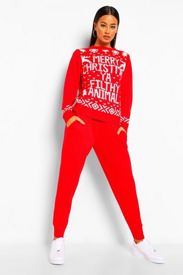 Red Ya Filthy Animal Christmas Co-ord