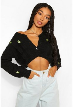 Black Crop Embroidered Cardigan