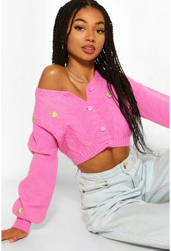 Pink Crop Embroidered Cardigan