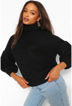 Black Chunky Balloon Sleeve Roll Neck Jumper