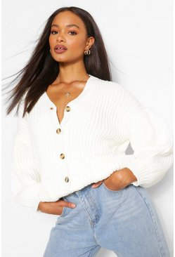 Chunky Balloon Sleeve Oversized Cardigan, Cream weiß