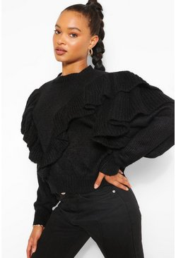 Black Oversized Ruffle Jumper