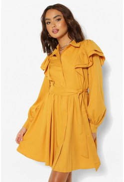 Mustard yellow Ruffle Sleeve Belted Skater Shirt Dress