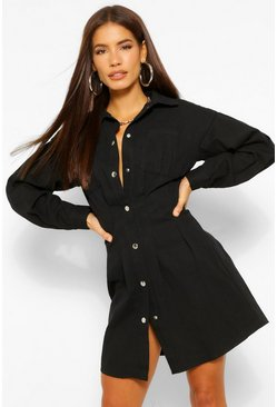 Black Pleat Detail Button Down Shirt Dress
