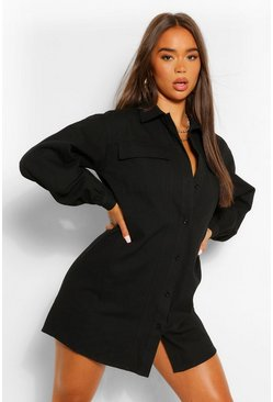 Black Contrast Panel Button Shirt Dress