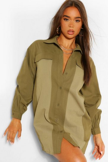 Khaki Contrast Panel Button Shirt Dress