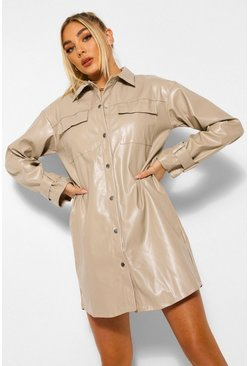 Stone beige PU Button Down Shirt Dress