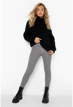 Black Dogtooth Check Jersey Leggings