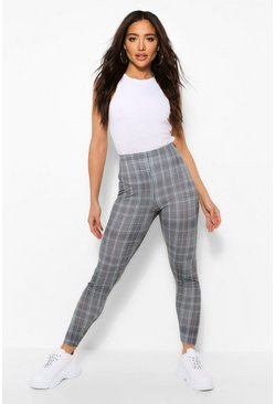Grey  Checked Jersey Leggings