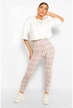 Beige Tonal Check Jersey Leggings