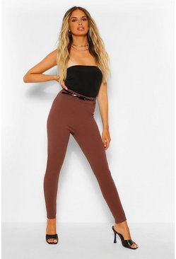 Chocolate brown Stretch Crepe Belted Legging