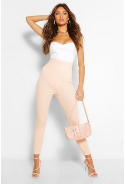 Nude Crêpe Stretch Legging Met Korset Detail