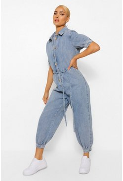 Mid blue blue Denim Baggy Boyfriend Boilersuit