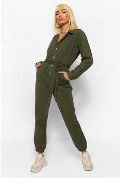 Khaki Denim Twil Cargo Belted Jumpsuit