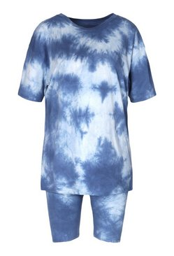 Navy TieDye Oversized Top&Cycling Short Co-ord
