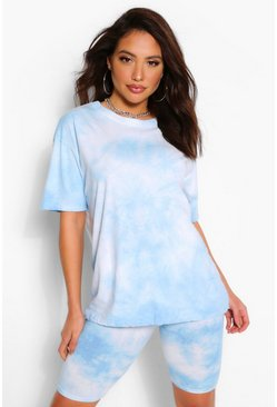 Sky blue Tiedye Oversized Top&Cycling Short Co-Ord
