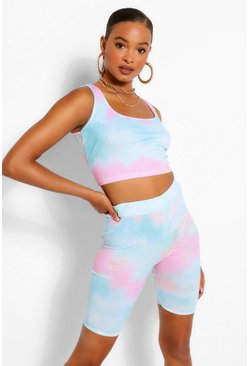 Pink Rib Strappy Crop Top & T-Shirt Co-ord