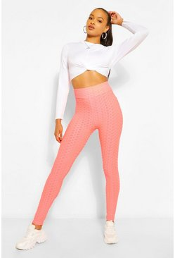 Coral pink Textured Fitted Legging