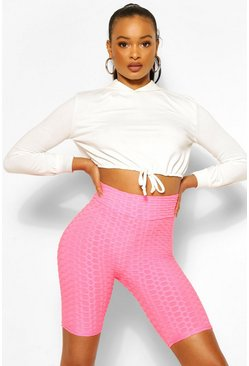 Pink Textured Fitted Cycling Short