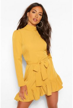 Chartreuse yellow High Neck Tie Waist Skater Dress