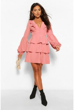 Blush pink Ruffle Plunge Tiered Skater Dress
