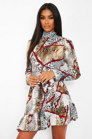Brown Chain Print High Neck Tie Waist Skater Dress