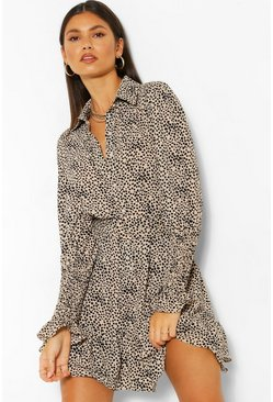 Stone beige Spot Print Frill Hem Belted Shirt Dress