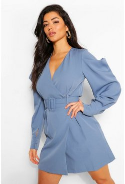 Teal green Puff Sleeve Belted Blazer Dress