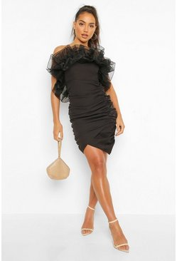 Black Extreme Ruffle Rouched Mini Dress