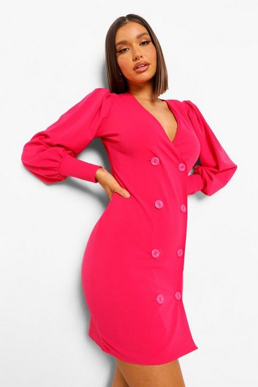 Hot pink pink Balloon Sleeve Button Detail Blazer Dress