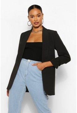 Black Ruched Sleeve Blazer