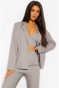 Grey Woven Tailored Button Blazer