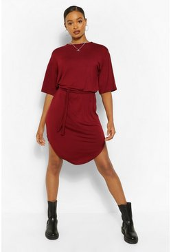 Berry Belted Curved Hem Midi Dress