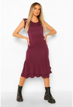 Berry Ruffle Drop Hem Midi Dress