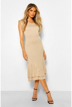 Stone beige Ruffle Drop Hem Midi Dress