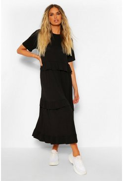 Black Tiered Ruffle Midi T-Shirt Dress