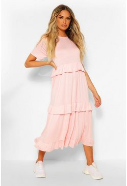 Blush pink Tiered Ruffle Midi T-Shirt Dress