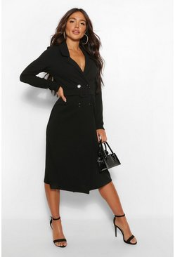 Black Belted Wrap Midi Blazer Dress