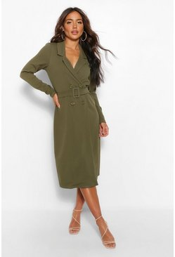 Khaki Belted Wrap Midi Blazer Dress